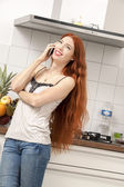 Happy Woman Talking Through Phone — Stock Photo