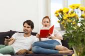 Couple Resting on the Sofa — Stock Photo