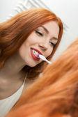 Woman Brushing her Teeth — Stock Photo
