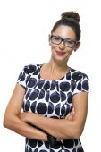 Confident Smiling Woman in a Trendy Fashion — Stock Photo