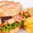 Club sandwich with French fries — Stock Photo #69752041