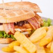 Club sandwich with French fries — Stock Photo #69752225