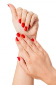 Woman with beautiful red fingernails — Stock Photo