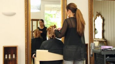 Attractive, young woman in hairdressing chair — Stock Video