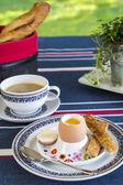 Breakfast of boiled egg — Stock Photo