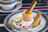 Breakfast of boiled egg — Stock Photo