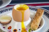 Breakfast of boiled egg, coffee — Stock Photo