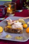 Sandwich abierto francés foie gras — Foto de Stock