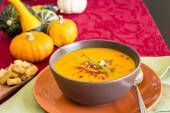 Bowl of delicious pumpkin soup — Stock Photo