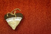 Cute, handmade, fabric christmas decoration — Stock Photo