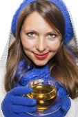 Attractive woman enjoying hot drink — Stock Photo