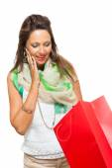 Joyful, attractive woman with shopping bag — Stock Photo