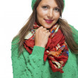 Woman in colorful scarf  posing at camera — Stock Photo #78535560