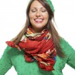 Woman in colorful scarf  posing at camera — Stock Photo #78535726