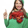 Woman in colorful scarf  posing at camera — Stock Photo #78536076