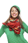Woman in colorful scarf  posing at camera — Stock Photo