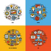 Flat line icons set of SEO, SMM, UI and UX design, HR. Creative design elements for websites, mobile apps and printed materials — Stock Vector