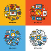 Flat line icons set of promotion, pay per click, consulting, development. Creative design elements for websites, mobile apps and printed materials — Stock Vector