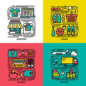 Flat line icons set of shopping, goods, payment, delivery. Creative design elements for websites, mobile apps and printed materials — Stok Vektör