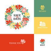 Guirnalda de flores. diseño plano colorido — Vector de stock