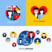Social network, social media and online dating modern flat vector concepts — 图库矢量图片