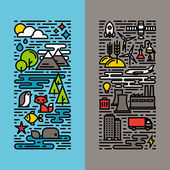 Green, ecology and environment flat line icons set — Stock Vector