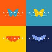 Butterfly. Set of logo design vector templates — Vector de stock