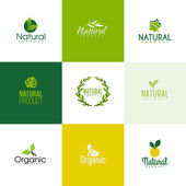 Set of natural and organic products logo templates. Icons of leaves and branches — Stock Vector
