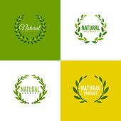 Natural product logo design vector template. Wreath of branches with leaves — Stock Vector