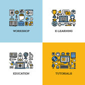 Flat line icons set of workshop, e-learning, education, tutorials. Creative design elements for websites, mobile apps and printed materials — Stock Vector