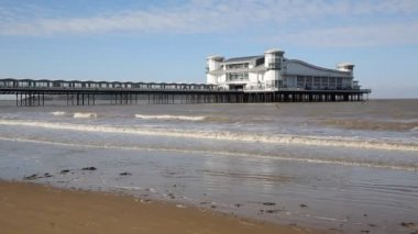 Weston-super-Mare Somerset England UK on a beautiful summer day with blue sky in this popular West Country tourist resort — Stock Video