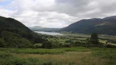 Bassenthwaite Lake District Allerdale near Keswick Cumbria England uk fed by River Derwent at foot of Skiddaw near Keswick — Stock Video