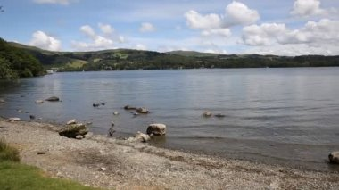 Windermere Lake District National Park England uk on a beautiful summer day with blue sky popular tourist attraction — Stock Video