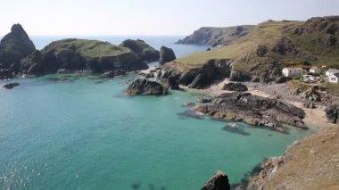 Kynance Cove The Lizard near Helston Cornwall England UK beautiful sunny summer day with blue sky and sea — Stock Video