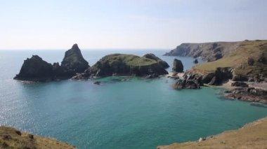 Turquoise sea at Kynance Cove The Lizard near Helston Cornwall England UK — Stock Video