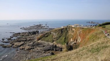 Lizard peninsula Cornwall England UK south of Falmouth and Penryn in summer on calm blue sea sky day — Stock Video