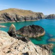 Rocks and blue sea Kynance Cove The Lizard Cornwall England UK on a beautiful sunny summer day with blue sky — Stock Photo #54112179