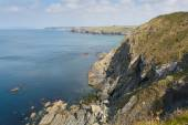 View of coast from Mullion Cove Cornwall UK the Lizard peninsula Mounts Bay near Helston within the Cornwall Area of Outstanding Natural Beauty — Stock Photo