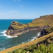 Boscastle coast and entrance to the harbour North Cornwall between Bude and Tintagel England UK on a beautiful sunny blue sky day — Stock Photo #55029305