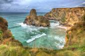 Whipsiderry beach and cove near Trevelgue Head Newquay Cornwall England UK with waves and cliffs in HDR — Stock Photo