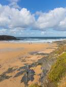 Treyarnon Bay Cornwall England UK Cornish north coast between Newquay and Padstow on a sunny blue sky day — Stock Photo