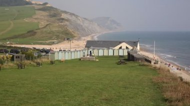 Charmouth coast Dorset England UK overlooking Lyme Bay and on the South West coast path — Stock Video