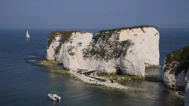 Jurassic Coast Studland Dorset England UK Old Harry Rocks chalk formations including a stack and a stump at Handfast Point Isle of Purbeck — Stock Video