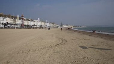 Weymouth beach Dorset UK in late summer popular tourist destination on the south coast — Stock Video