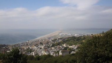 View over Weymouth Portland and Chesil beach Dorset England UK blue sky and cloud in the summer — Stock Video