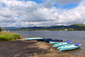 Wooden dinghy rowing boats in the Lake District Ullswater Cumbria England UK — Stock Photo