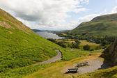 Elevated view of Ullswater Lake District Cumbria England UK from Hallin Fell in summer — Stock Photo