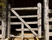 Very old wooden stable door hundreds of years old — Stock Photo