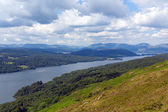 Lake District mountains and Elevated view of Windermere England uk from Gummers How with boat sailing in summer — Stock Photo