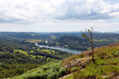 Elevated view of Windermere Lake District England uk from Gummers How with boat sailing in summer — Stock Photo
